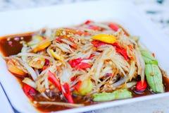 The spicy papaya salad Stock Photography