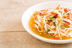 Spicy papaya salad (Traditional Thai food) Stock Photo