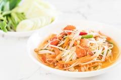 Spicy papaya salad (Traditional Thai food) Stock Image