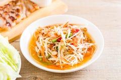 Spicy papaya salad (Traditional Thai food) Royalty Free Stock Images