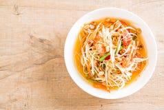 Spicy papaya salad (Traditional Thai food) Royalty Free Stock Photo