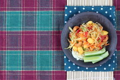 Spicy papaya salad with vegetable. Vegetable festival ,spicy papaya salad as lentils,cucumber,cashew nuts,ginkgo,tomato,red chili and green lemon with mixed stock image