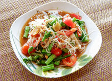 Spicy papaya salad with Vegetable and Rice noodle Royalty Free Stock Photography