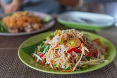 Spicy Papaya Salad With Rice Vermicelli Stock Image