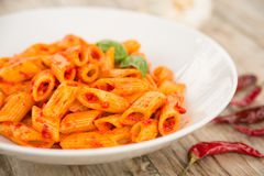 Spicy pasta Stock Images