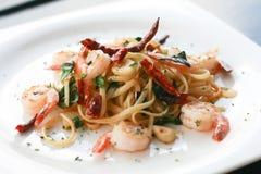 Spicy Pasta and Shrimp Stock Photo