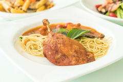 Spicy penne with fried duck Royalty Free Stock Photos