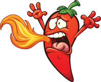 Spicy pepper. Spicy chili Pepper breathing fire. Vector clip art illustration with simple gradients. Pepper and fire on separate layers Royalty Free Stock Images