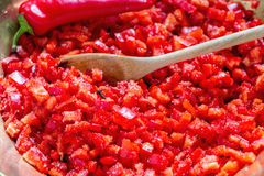 Spicy pepper jam during cooking. Stock Photography