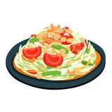 Spicy popular papaya Thai salad  Stock Photos