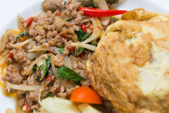 Spicy pork with basil and omelet Royalty Free Stock Image