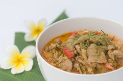 Spicy pork curry. In white bowl Stock Photography