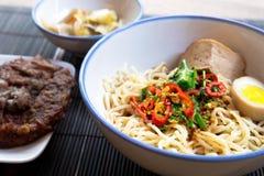 Spicy pork noodle Stock Photo