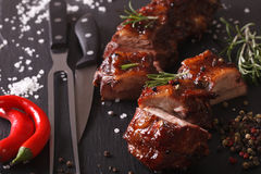 Spicy pork ribs BBQ closeup with the ingredients. horizontal Royalty Free Stock Photos