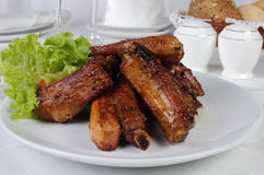 Spicy pork ribs marinated in garlic Royalty Free Stock Photo