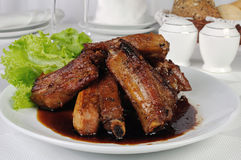 Spicy pork ribs marinated in garlic Stock Image