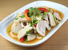 Spicy pork salad on plate Royalty Free Stock Images