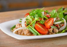 Spicy pork salad, Thai cusine on wooden background. Spicy pork salad, Thai cusine royalty free stock photography
