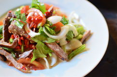 Spicy pork salad with vegetables Stock Photo