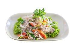 Spicy pork vermicelli salad on white background Stock Photo