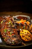 Spicy portion of barbecued spare ribs with chili Stock Photography