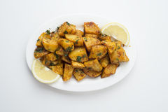 Spicy potato cut in cubes and fried, lebanese cuisine Royalty Free Stock Photos