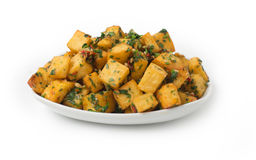 Spicy potato cut in cubes and fried, lebanese cuisine Stock Photo