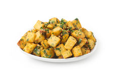 Spicy potato cut in cubes and fried, lebanese cuisine Royalty Free Stock Images