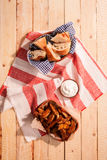 Spicy potato wedges with fresh home baked bread Royalty Free Stock Photography