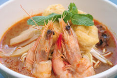 Spicy prawn noodles soup laksa noodle. Prawn noodle - Malaysian food spicy noodles stock photos