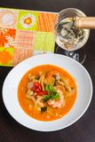 Spicy prawn soup with a glass of wine Stock Photography