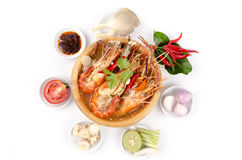Spicy prawn soup (Tom Yum Kung) Stock Photography