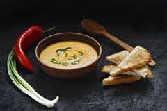 Spicy pumpkin cream soup with toast in a clay plate. royalty free stock images