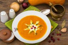 Spicy pumpkin puree soup. Studio Photo Stock Photography