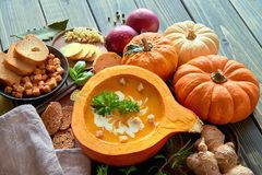 Spicy pumpkin soup served in a hollowed pumpkin with ingredients. Spicy pumpkin soup seasoned with ginger and garlic, served in a hollowed pumpkin with croutons Stock Images
