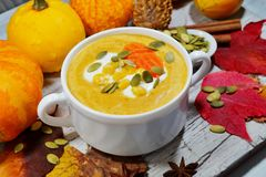 Spicy pumpkin soup in a white bowl, selective focus Royalty Free Stock Photo