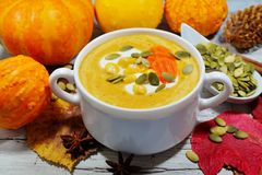 Spicy pumpkin soup in a white bowl, selective focus Royalty Free Stock Images