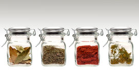 Spicy range. A range of four transparent glass jars of different spices and herbs Stock Images