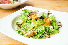 Spicy Raw crabs meat seafood. With sauce in white plate - Thai food style Royalty Free Stock Images
