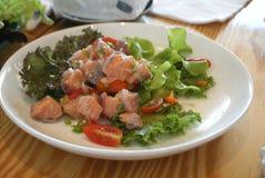 Spicy raw salmon salad Stock Photos