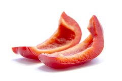 Spicy red capsicum sliced no seed ingredient Stock Photos