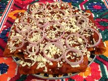 Spicy Red Enchiladas With Toppings Royalty Free Stock Photography