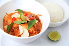 Spicy red fish curry Stock Image
