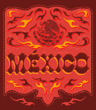 Spicy red Mexico sign - mexican poster Stock Photos