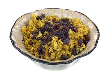 Spicy Rice and Raisins in Dish Royalty Free Stock Photography