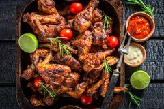 Spicy roasted chicken wings with rosemary and spices Royalty Free Stock Images