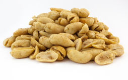 Spicy Roasted Peanuts. A pile of hot spicy fresh roasted peanuts. Horizontal. White background Stock Photography
