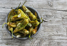 Spicy roasted peppers with garlic and herbs Royalty Free Stock Photo