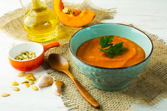 Spicy roasted pumpkin cream soup Stock Photo