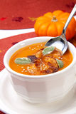 Spicy Roasted Pumpkin Soup. Closeup of a cup of hot delicious spicy roasted pumpkin soup with pumpkin crisps, sage and sesame seads stock photos